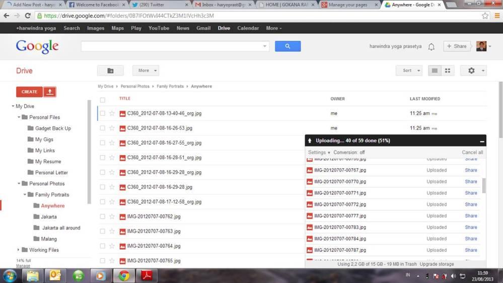 My google drive snap shot